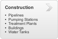 Construction of Pipelines, Pumping Stations, Treatment Plants, Buildings, Water Tanks